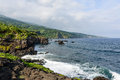 Cliffs in maui hawaii along the pacific ocean Stock Photos