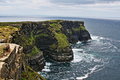 Cliffs of Moher at Hags Head where the Atlantic ocean and Liscanor Bay meet Royalty Free Stock Photo