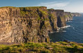 Cliffs of moher,sunet,west of ireland Stock Photos
