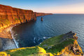 Cliffs of Moher at sunset Stock Image