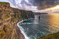 Cliffs of moher at sunset co clare ireland Stock Photos