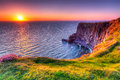 Cliffs of moher at sunset co clare ireland Royalty Free Stock Photos