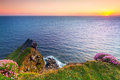 Cliffs of moher at sunset co clare ireland Royalty Free Stock Image