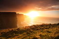 Cliffs of moher at sunset in co clare ireland famous natural attraction Stock Images