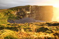 Cliffs of moher at sunset in co clare ireland famous natural attraction Stock Photos