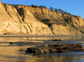 Cliffs with reflections at Torrey Pines State Beach, La Jolla, California Royalty Free Stock Photo