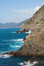 Cliffs in Riomaggiore. Royalty Free Stock Photo