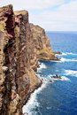 Cliffs of volcanic origin in eastern madeira portugal Stock Photos