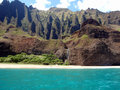 Cliffs and waterfall at Na Pali Coast, Kauai, Hawaii Royalty Free Stock Photo