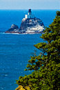 Cliffside view of tillimook lighthouse oregon overlooking the pacific ocean and Stock Photo