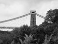 Clifton Suspension Bridge in Bristol in black and white Royalty Free Stock Photo