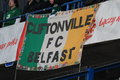 Cliftonville poznan poland november flag hung by irish fans before friendly football match between poland and ireland on november Royalty Free Stock Photo