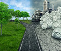 Climate choice global ecology concept cross road between an unhealthy scene with polluted dirty air contrasted with green healthy Royalty Free Stock Image