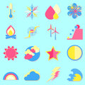 Climate color icons with shadow stock vector Royalty Free Stock Photography