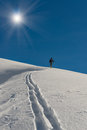 Climb ski alpinism with blu sky Stock Photo