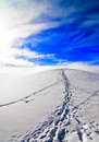 Climb up hill to sky foot print paths leading snowy with bright blue and white clouds Stock Photo