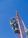 Climber on antenna tower beginning to climb an Royalty Free Stock Photo