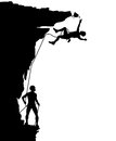 Climber fall editable vector silhouette of a falling from a breaking overhang with figures as separate objects Royalty Free Stock Photo