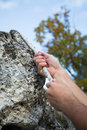 Climber hands the rock with rope Stock Photos