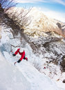 Climber on a ice fall Stock Image