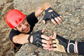 Climber Lending Helping Hand Stock Photos