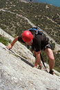 Climber the rock during rock conquest young climbing in the dolomits Stock Photography