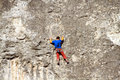 Climber the rock during rock conquest young climbing in the dolomits Stock Image