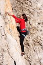 Climber the rock during rock conquest young climbing in the dolomits Royalty Free Stock Photography