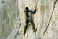 Climber the rock during rock conquest young climbing in the dolomits Royalty Free Stock Photo