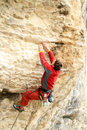 Climber the rock during rock conquest young climbing in the dolomits Royalty Free Stock Images