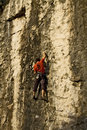 Climber on a rock wall, close up Royalty Free Stock Images