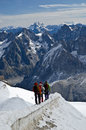 Climbers in the snowy mountain Stock Photography