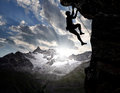 Climbers in the Swiss Alps Royalty Free Stock Photo
