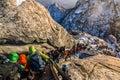 Climbers Traversing A Steep Sl...