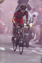 Climbing alpe d huez france july the american cyclist tejay van garderen from bmc racing team the difficult road to Royalty Free Stock Photography