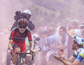 Climbing alpe d huez france july the american cyclist tejay van garderen from bmc racing team the difficult road to Royalty Free Stock Photo