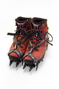 Climbing boots gear boot and crampons Stock Photography