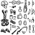 Climbing,camping and exploration vintage icons set Royalty Free Stock Photo