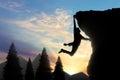 Climbing climber on top of mountain Royalty Free Stock Photo