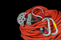 Climbing Equipment on Black Background Royalty Free Stock Photo
