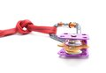 Climbing equipment - pulley, rope, carabiner isolated on white background Royalty Free Stock Photo