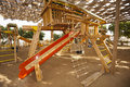 Climbing frame in a childrens play area Royalty Free Stock Photo