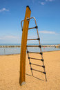 Climbing frame an elegant wooden on a beach in herne bay kent uk Royalty Free Stock Photo