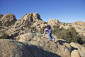 Climbing Through Granite Dells Royalty Free Stock Photo