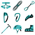 Climbing hiking trekking camping speleology and ice climbing equipment set vector flat icons Stock Photo