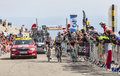 Climbing mont ventoux france july group of three cyclists the french cyclist romain bardet ag r la mondiale team the polish Royalty Free Stock Images