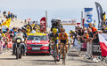 Climbing mont ventoux france july the spanish cyclists mikel nieve iturralde euskaltel euskadi team and alberto contador team saxo Stock Images