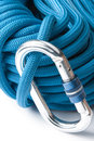 Climbing rope and karabiner Stock Photos