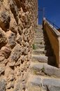 Climbing Stairs To The Beautiful Walls In The Walled City Of Segovia. Architecture History Travel Royalty Free Stock Photo