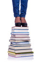 Climbing the steps of knowledge education concept Stock Photography